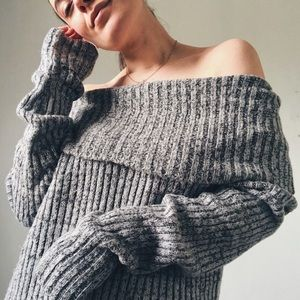 Sweaters - OFF THE SHOULDER CHARCOAL SPECKLED KNIT